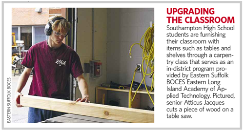 "A screen grab of a newsletter that says ""Upgrading the Classroom"" and shows a man in a red shirt at a table saw"