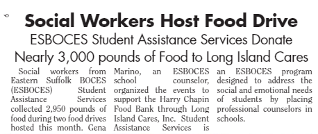 "Screen shot of article saying ""Social Workers Host Food Drive"""