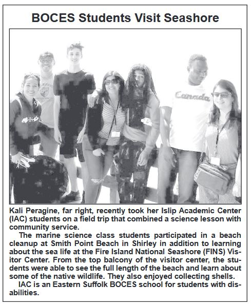 "A newspaper clipping that says ""BOCES Students Visit Seashore"""