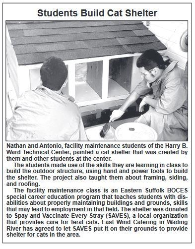 article with students constructing the cat shelter