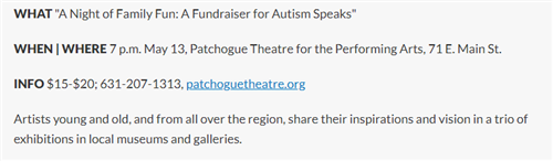 A breakdown of the need-to-know information about A Night of Family Fun, Fundraiser for Autism Speaks which was in May 2019