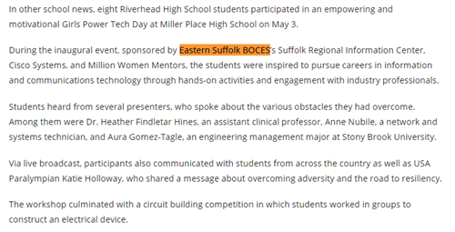 A clip from a news article by the Independent with Eastern Suffolk Boces highlighted for their work with Girl Power Tech Day