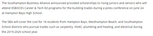 A news clip that says that the Southampton Business Alliance provided scholarships to students wishing to enter ESBOCES