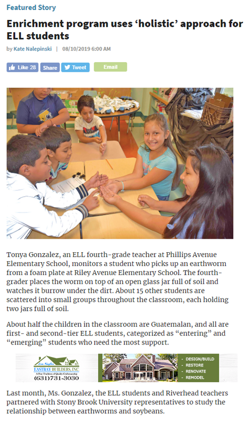 First page of a news article with the title Enrichment program uses 'holistic' approach for ELL students, shows a picture