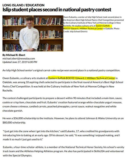 A news article featuring a picture of a boy in kitchen whites standing in front of a book shelf