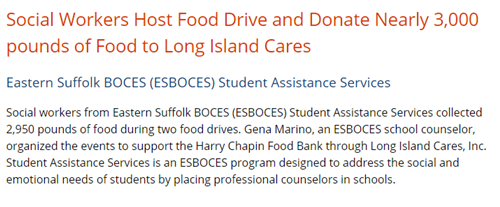 A screen grab from NYSED that says Social Workers Host Food Drive and Donate Nearly 3,000 pounds of Food to Long Island Cares