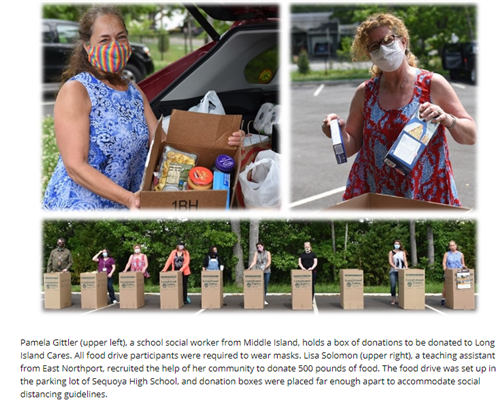 A screen grab of three pictures that shows a person who has a mask and a box of food, a person donating two boxes of pasta