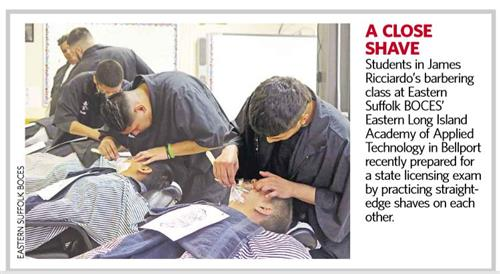 Barbering students performing the straight-edge shave