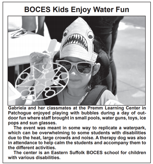 "A screen grab that says ""BOCES Kids Enjoy Water Fun"" showing a black and white picture of a little girl in a shark hat"