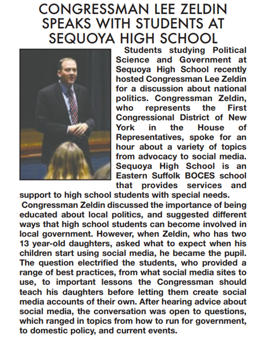 A screen grab with Congressman Lee Zeldin speaks with students at Sequoya high school, with a picture of the congressman
