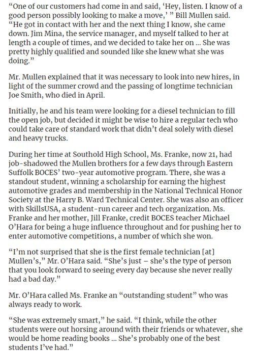 Screengrab walking about how Ms Frank graduated from ESBOCES in Auto Technician and became first female technician at Mullen