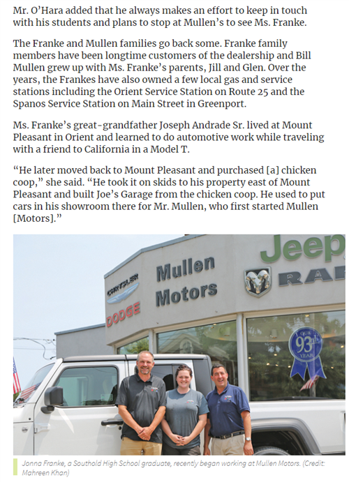 Screencap of news article with Jonna Franke standing outside the front of Mullen Motors