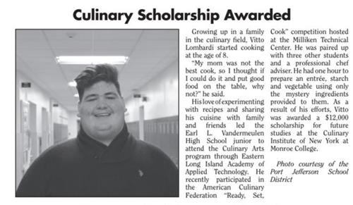 newspaper article with image of winning student