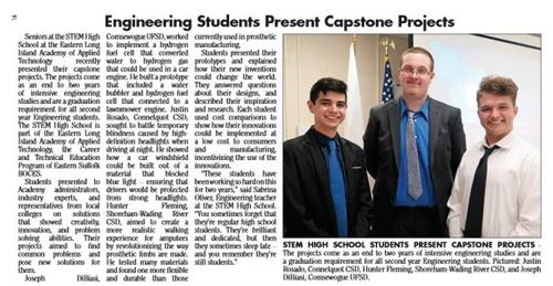 "A news clip that says ""Engineering Students Present Capstone Projects"""