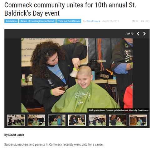 A screen grab from an article showing a young student getting their head shaved by a barbering student