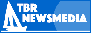 The logo of TBR Media, featuring the words TBR and a icon that looks like a sailboat