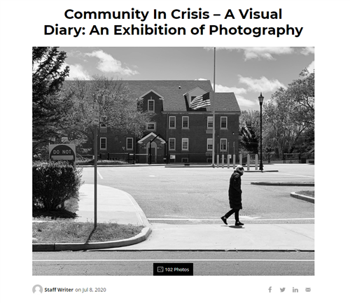 "First series of screen shot that says ""Community in Crisis - A Visual Diary"""