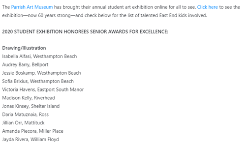 List of all students being highlighted under Drawing/Illustration in the online Parrish Art Museum Online Exhibition