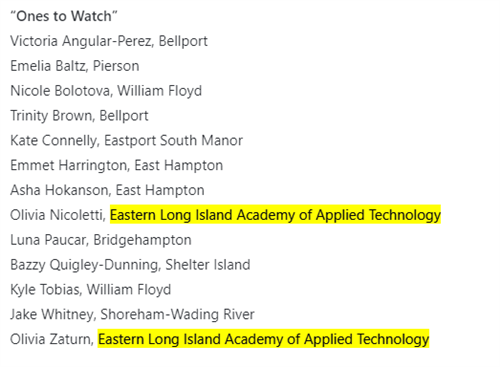 "The ""Ones to Watch"" list which feature two ESBOCES Students"
