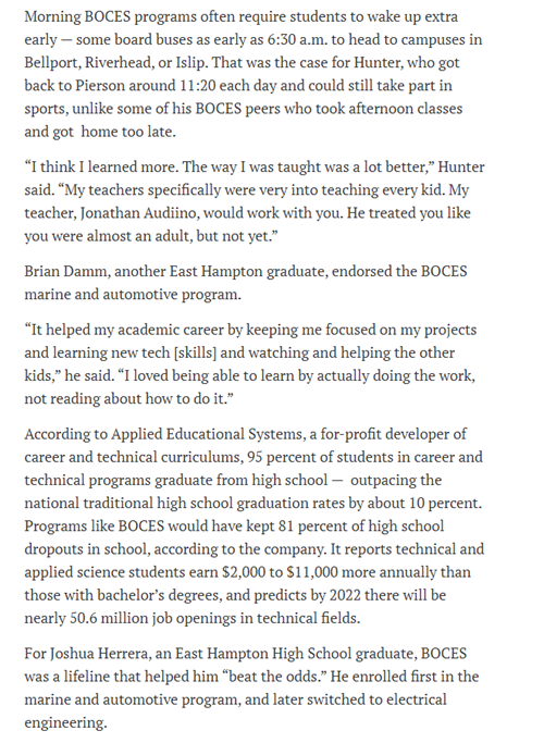 A sixth screen shot in sequence talks about how rigorious the BOCES program can be for high school students