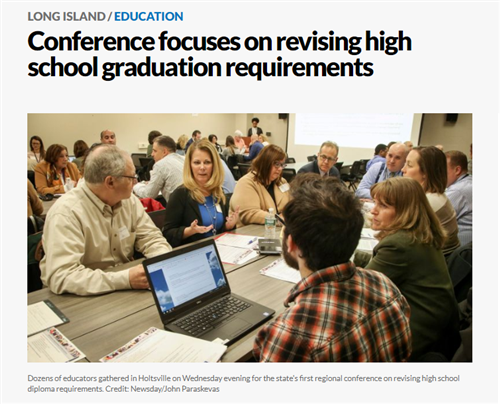 A screen grab that shows people at a table that says Conference Focuses on Revising High School Graduation Requirements
