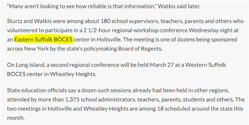 This screen grab has Eastern Suffolk BOCES highlighted, describes the Graduation Measures conference