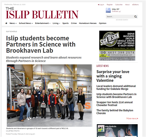 "A clip from the ""Islip Bulletin"" that says Students expand research and learn about resources through Partners in Science"