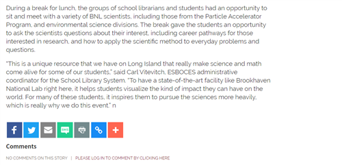 The final screen grab that shows how students networked with scientists at Brookhaven National Lab