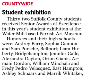 "A screen grab of a news article that says ""County Wide"" and talks about how Thirty-Two students received senior awards"