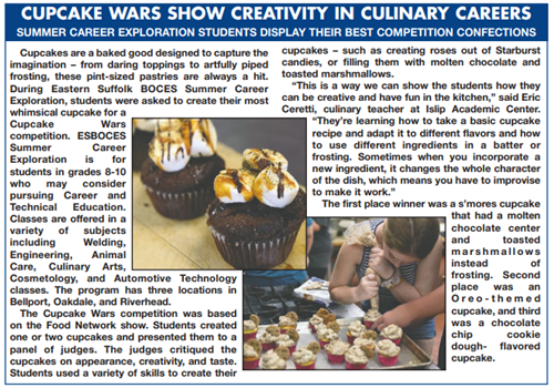 A clipping of a news article about middle school students creating cupcakes in a competition