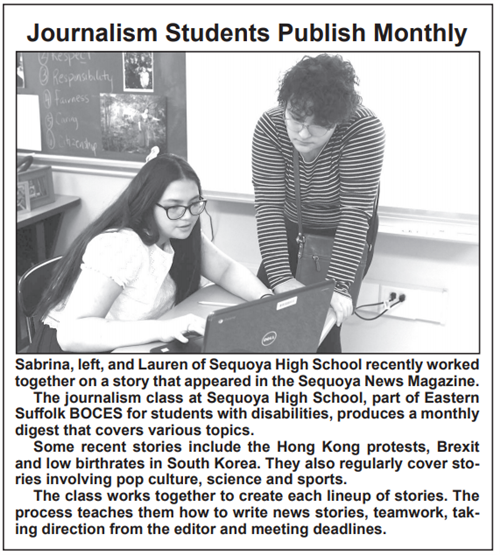A news clipping that says Journalism Students Publish Monthly with a picture of two girls at a computer