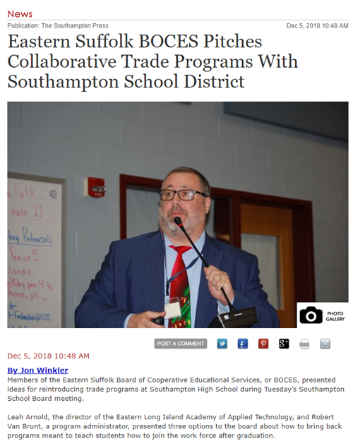 "A screen cap of an article that says ""Eastern Suffolk BOCES Pitches Collaborative Trade Programs with Southampton School Dis"""