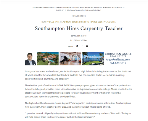 A screen grab of a news article titled Southampton Hires Carpentry Teacher