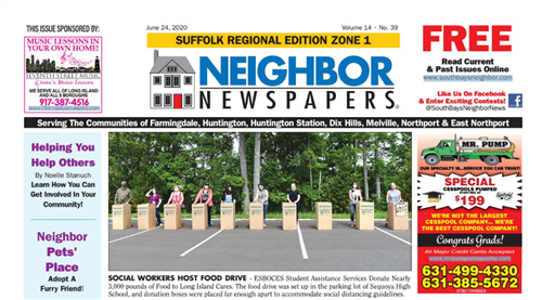 The front page of Neighbor Newspapers showing people standing at Food Drive collection bins while social distancing