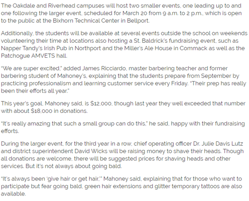 This screen shot outlines the out of agency events that are fundraisers for St. Baldrick's
