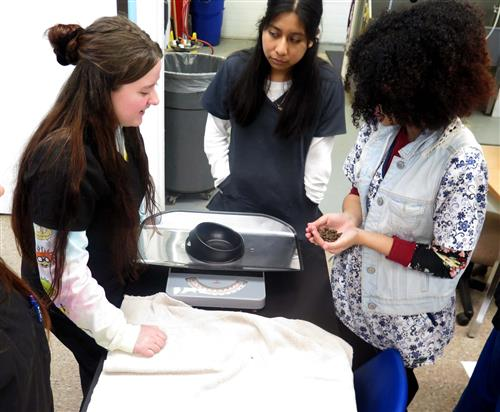Three girls measure the weight of an animal's food bowl before measuring how much the food in the bowl weighs