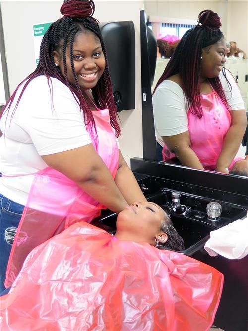 student shampoos customer