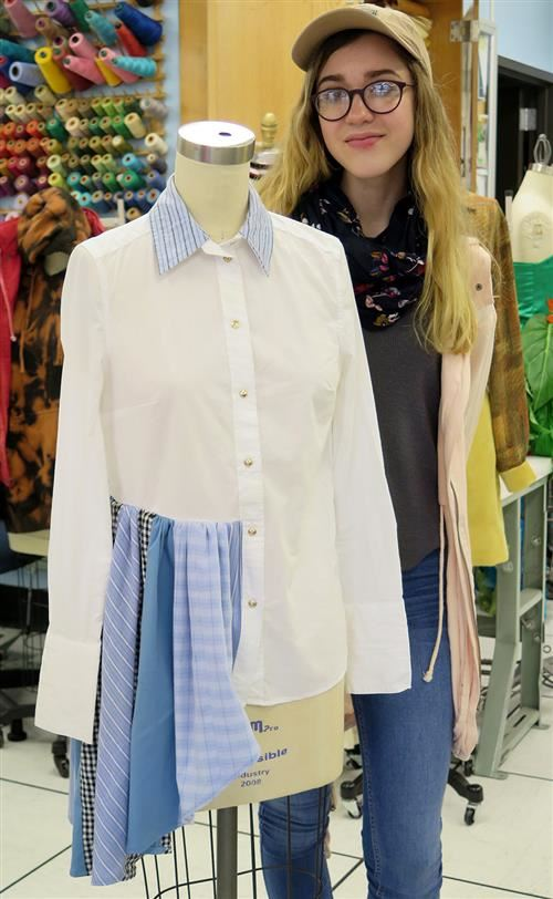 Student and her asymetrical blouse