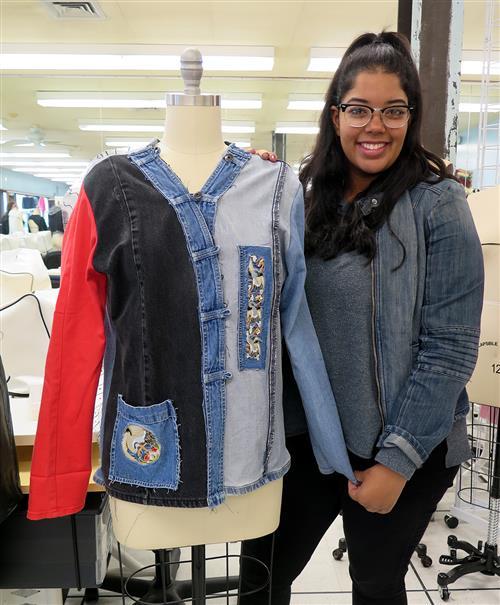 Student and upcycled denim jacket