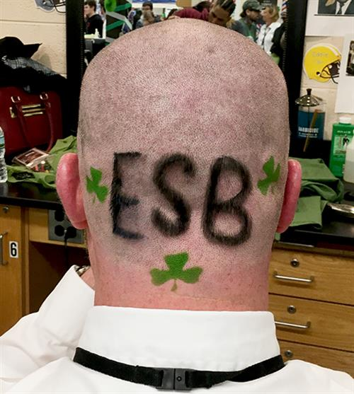 ESB etched into the scalp of David Wicks