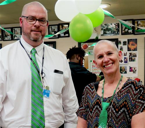 David Wicks and Dr. Lutz with heads shaved