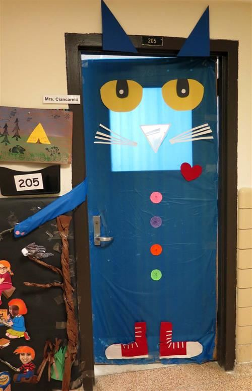 Perfect Classroom Door Decorated Like The Book Pete The Cat.