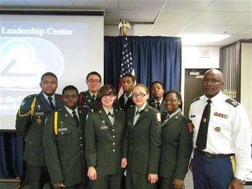 JROTC students from Wyandanch UFSD with instructor Sergeant First Class Jesse Bell, Army JROTC