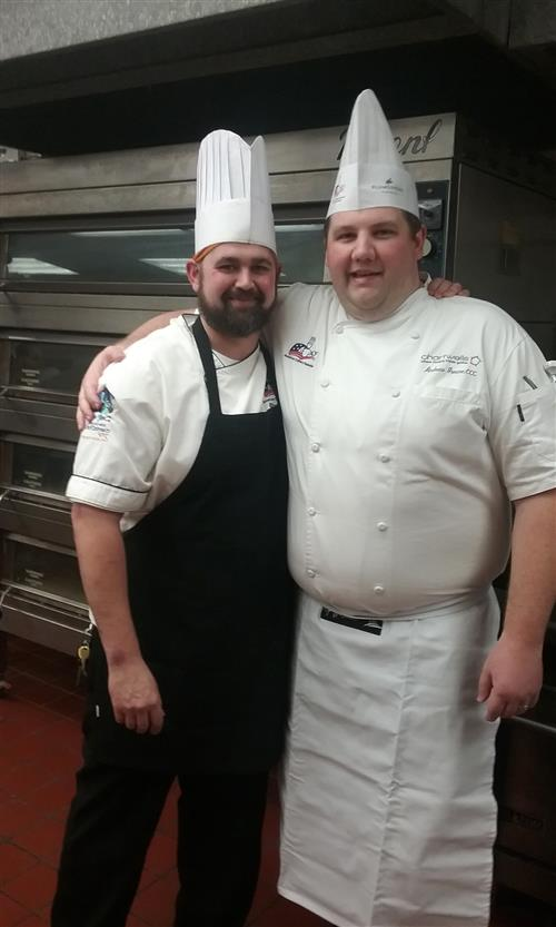 Chef Green and Chef Dalager - saying good luck to each other.