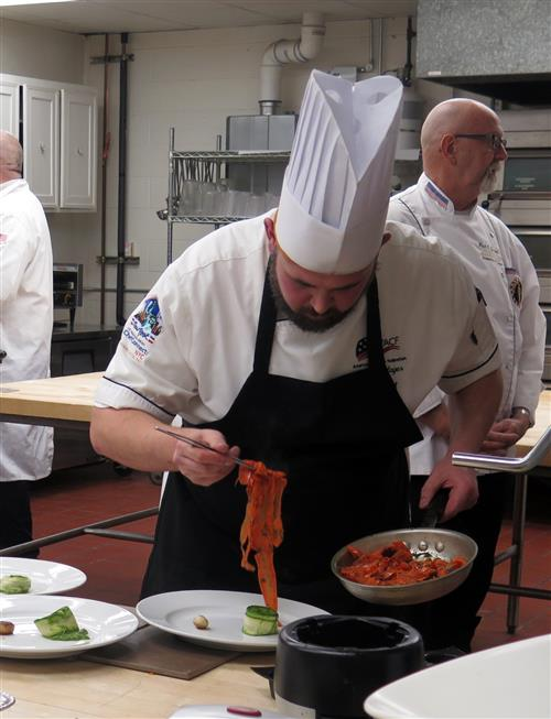 Chef Dalager plating his creation.