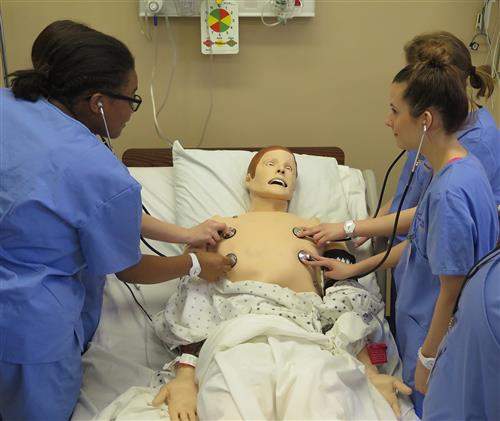Four students put a stethoscope on a mannequin