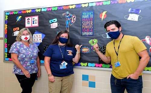 Superheroes Encourage Students to Wear Masks at School