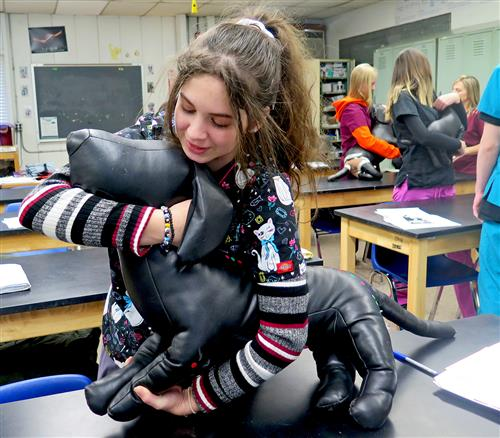 Academy LI Animal Science Students Learn Dog Restraint Techniques