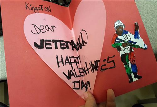 Valentine's Day card to a veteran.