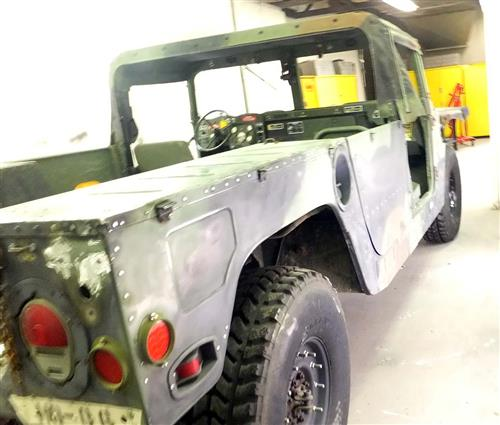 Before picture of Humvee needs alot of work!